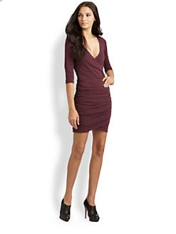 James Perse - Three-Quarter Sleeve Fitted V-Neck Dress
