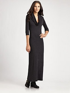 James Perse - Three-Quarter Sleeve Cowlneck Maxi Dress