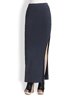 James Perse - Ruched Cotton-Rich Maxi Skirt