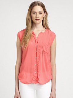 James Perse - Ruched Cap Sleeve Shirt