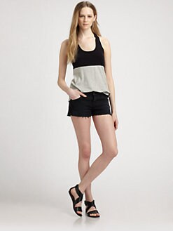 James Perse - Colorblock Cotton Jersey Racerback Tank