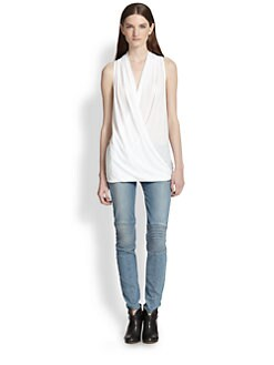 James Perse - Draped Crossover-Front Cotton Tank