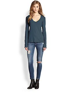 James Perse - Relaxed V-Neck Long Sleeve Tee