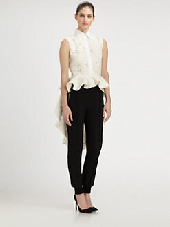 Giambattista Valli - Silk Lace Peplum Top