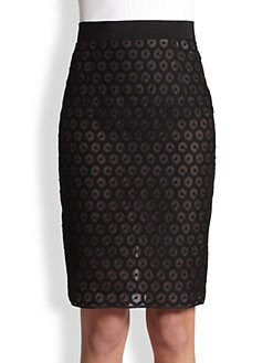 Giambattista Valli - Honeycomb Silk Pencil Skirt