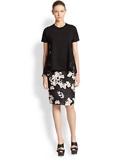 Giambattista Valli - Pansy Print Silk Pencil Skirt