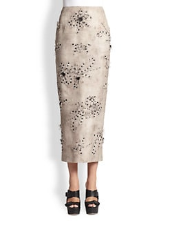 Giambattista Valli - Embroidered Applique Silk Pencil Skirt
