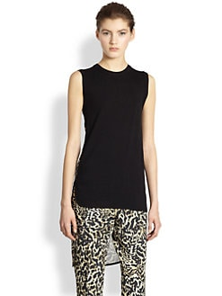 Giambattista Valli - Hi-Lo Leopard Panel Top