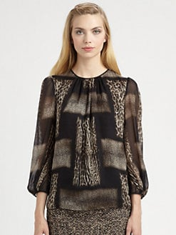 Giambattista Valli - Silk Animal Print Blouse