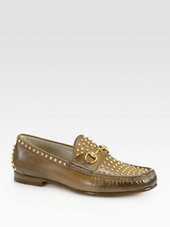 Gucci - Roos Studded Leather Loafer