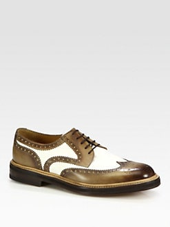 Gucci - Eyck Brushed Leather and Canvas Lace-Up