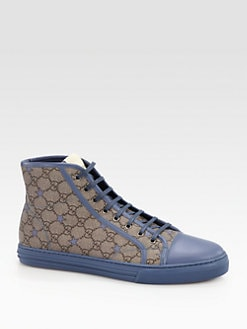 Gucci - California GG PU Stars Fabric High-Top Sneaker