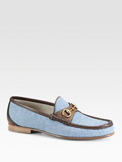 Gucci - Roos Raffia Moc Loafer