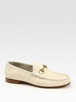Gucci - White Straw Horsebit Loafer