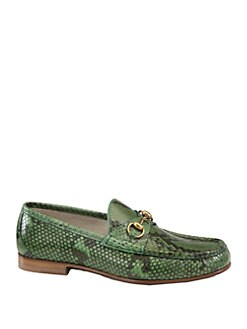 Gucci - Green Python Horsebit Loafer