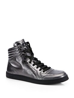 Gucci - Metallic Leather High-Top Sneakers