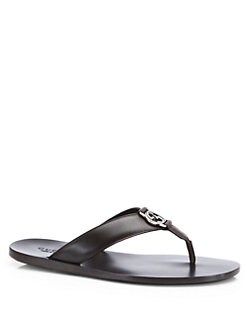 Gucci - GG Leather Thong Sandal
