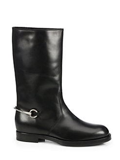 Gucci - Shearling-lined Leather Horsebit Boots