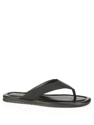 gucci male rubberized leather gg thong flip flops