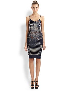 Jean Paul Gaultier - Ruched Tattoo Stripe Dress