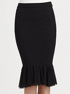 Jean Paul Gaultier - Tulle-Tiered Stretch Jersey Pencil Skirt