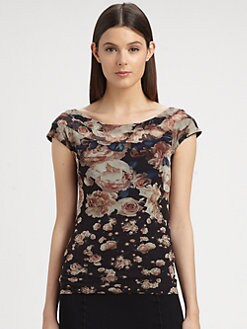 Jean Paul Gaultier - Rose-Print Off-The-Shoulder Top