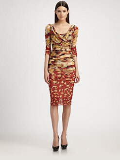 Jean Paul Gaultier - Ruched Rose-Print Dress