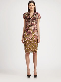 Jean Paul Gaultier - Rose-Print Cowlneck Dress