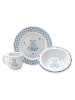 Reed & Barton - Gingham Bear 3-Piece Dinner Set