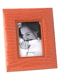 Reed & Barton - Faux Crocodile Orange Citrus Frame