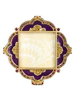 Jay Strongwater - Crystal Embellished 18K Gold Enameled Pave Photo Frame