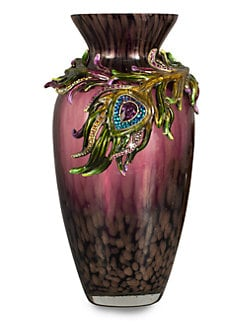 Jay Strongwater - Alina Peacock Feather Vase
