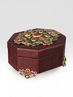Jay Strongwater - Octagonal Jeweled Leather Box