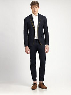 DSQUARED - Contrast-Trim Cotton Blazer