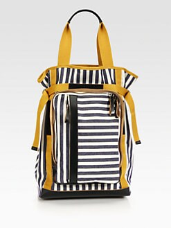 Marni - Striped Canvas & Leather Bag