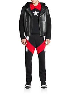 Givenchy - Leather Moto Hoodie