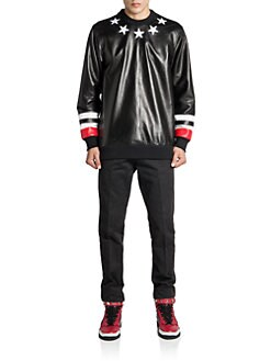 Givenchy - Leather Star & Stripe Sweatshirt