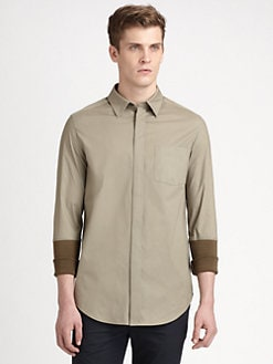 3.1 Phillip Lim - Knit-Cuffed Woven Button-Down Shirt