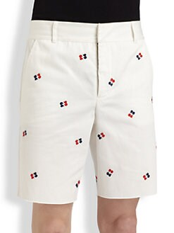 Band of Outsiders - Embroidered-Pattern Cotton Shorts