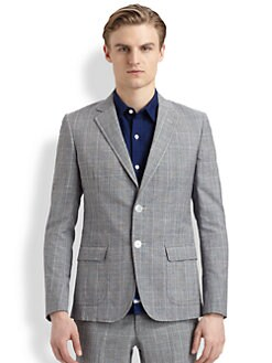 Band of Outsiders - Check Wool & Linen Blazer