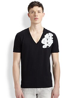 DSQUARED - V-Neck Flower Tee