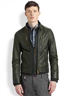 DSQUARED - Leather Knit Bomber Jacket