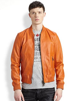 DSQUARED - Leather Bomber Jacket