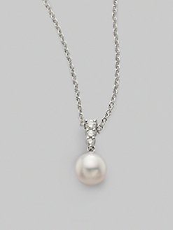 Mikimoto - Morning Dew 8mm Cultured Pearl & Diamond Pendant Necklace