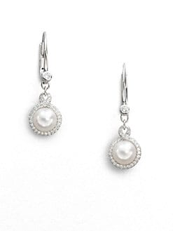Mikimoto - 7MM Round White Akoya Pearl & Diamond Drop Earrings