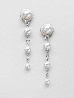 Mikimoto - Diamond, Akoya Pearl and 18K White Gold Earrings