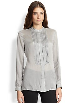 Burberry Brit - Striped Silk Tuxedo Blouse