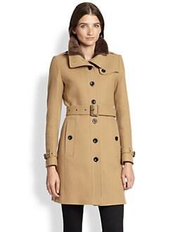 Burberry Brit - Rushfield Fur-Collar Trenchcoat