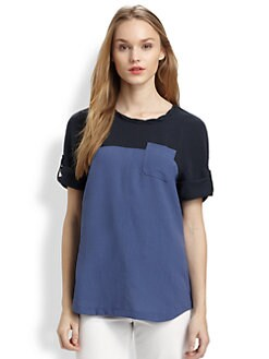 Burberry Brit - Two-Tone Short-Sleeve Top