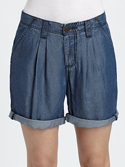 Burberry Brit - Washed Denim Pleat-Front Shorts